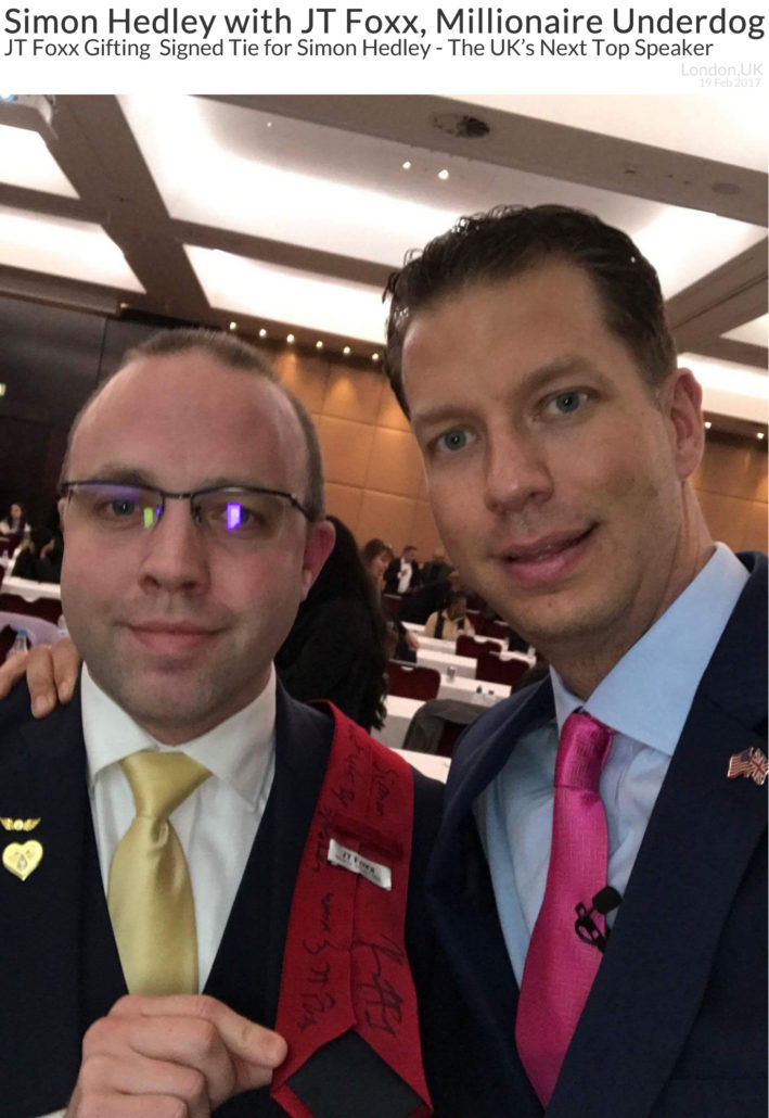 Simon Hedley with JT Foxx Gifting Signed JT Foxx Tie to Simon as The UK's Next Top Speaker 19 Feb 2017