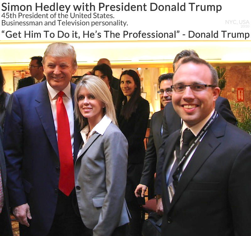 Simon Hedley with President Donald Trump 2010