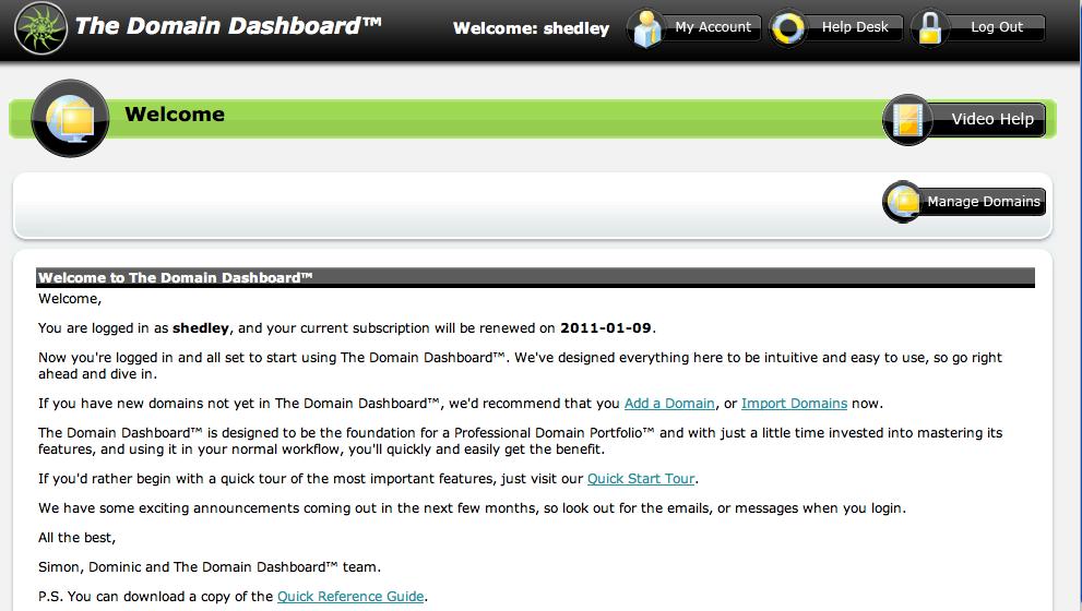 The Domain Dashboard